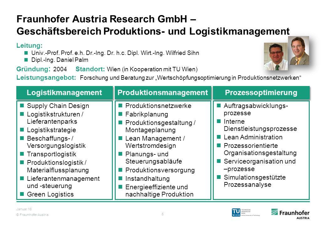 © Fraunhofer Austria 5 Januar 16 Fraunhofer Austria Research GmbH – Geschäftsbereich Produktions- und Logistikmanagement Leitung: Univ.-Prof. Prof. e.