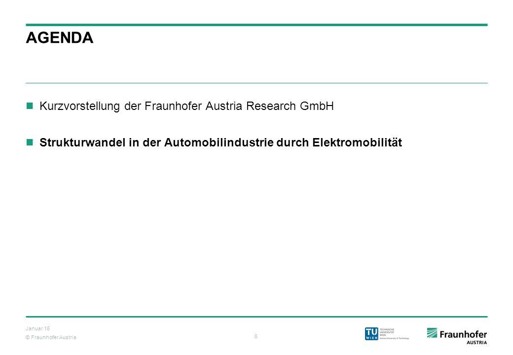 © Fraunhofer Austria 6 Januar 16 AGENDA Kurzvorstellung der Fraunhofer Austria Research GmbH Strukturwandel in der Automobilindustrie durch Elektromob