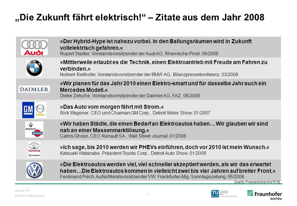 """© Fraunhofer Austria 7 Januar 16 """"Die Zukunft fährt elektrisch!"""" – Zitate aus dem Jahr 2008 »Der Hybrid-Hype ist nahezu vorbei. In den Ballungsräumen"""