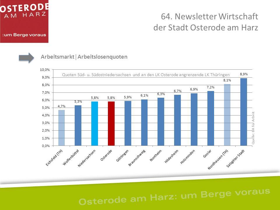 64. Newsletter Wirtschaft der Stadt Osterode am Harz Arbeitsmarkt│Arbeitslosenquoten Quoten Süd- u. Südostniedersachsen und an den LK Osterode angrenz