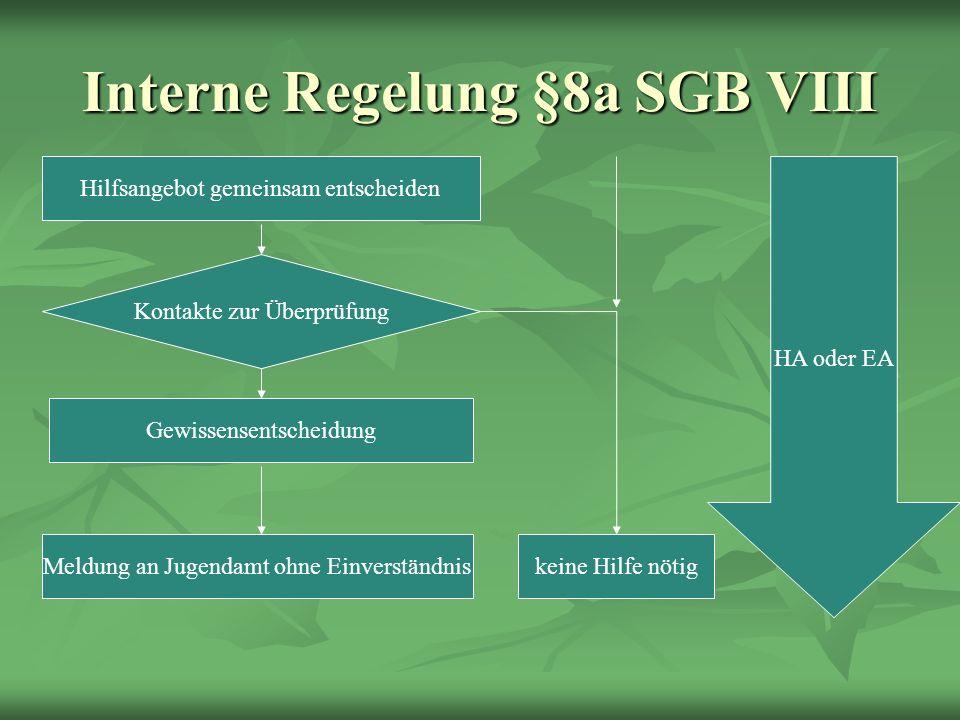 Interne Regelung §8a SGB VIII Hilfsangebot gemeinsam entscheiden Kontakte zur Überprüfung Gewissensentscheidung Meldung an Jugendamt ohne Einverständniskeine Hilfe nötig HA oder EA