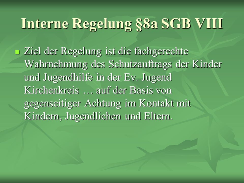 Interne Regelung §8a SGB VIII Ziel der Regelung ist die fachgerechte Wahrnehmung des Schutzauftrags der Kinder und Jugendhilfe in der Ev. Jugend Kirch