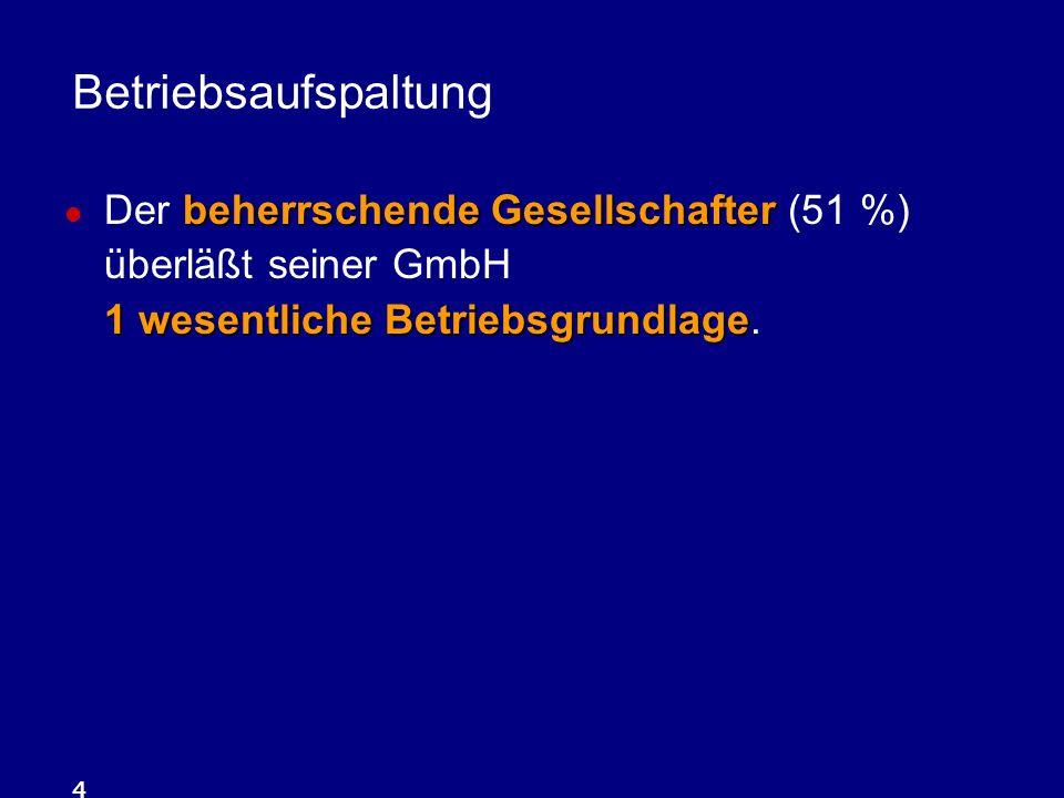 4 beherrschende Gesellschafter 1 wesentliche Betriebsgrundlage Der beherrschende Gesellschafter (51 %) überläßt seiner GmbH 1 wesentliche Betriebsgrun