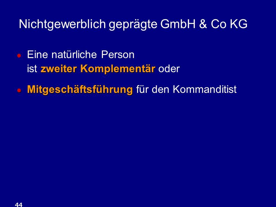44 Nichtgewerblich geprägte GmbH & Co KG zweiter Komplementär Eine natürliche Person ist zweiter Komplementär oder Mitgeschäftsführung Mitgeschäftsführung für den Kommanditist