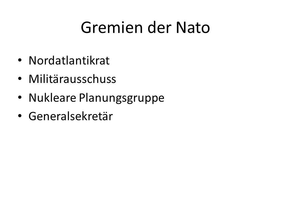 Gremien der Nato Nordatlantikrat Militärausschuss Nukleare Planungsgruppe Generalsekretär