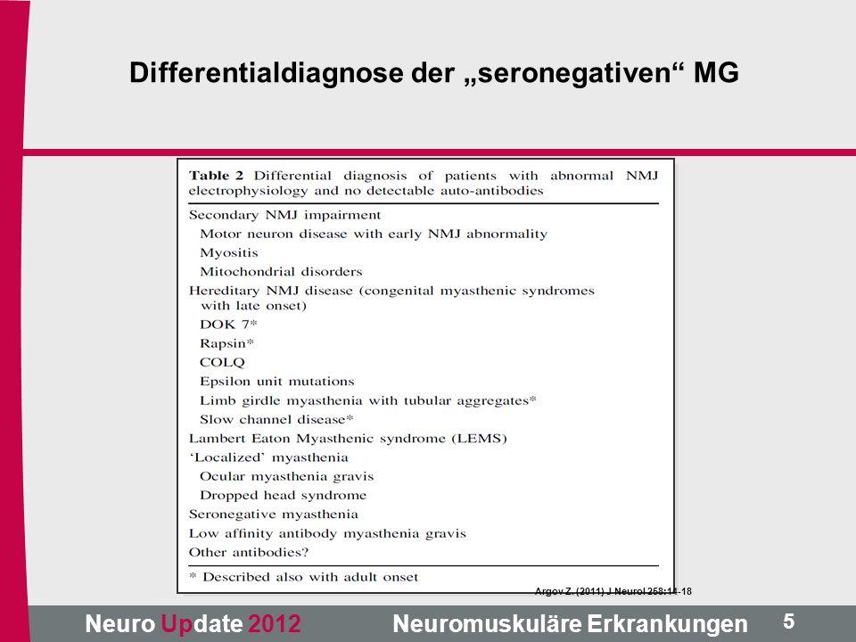 """Neuro Update 2012 Neuromuskuläre Erkrankungen Argov Z. (2011) J Neurol 258:14-18 5 Differentialdiagnose der """"seronegativen"""" MG"""