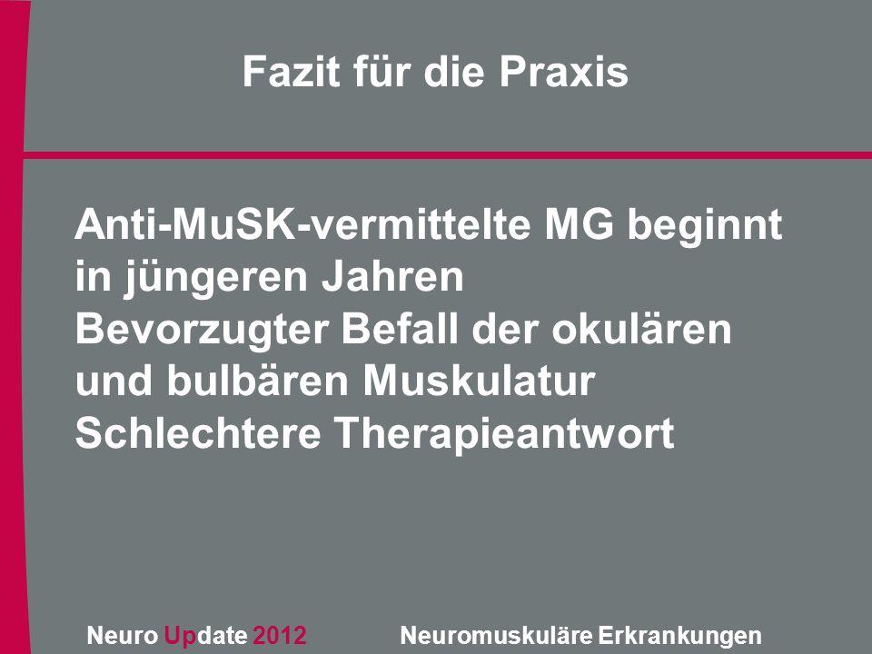 Neuro Update 2012 Neuromuskuläre Erkrankungen Anti-MuSK-vermittelte MG beginnt in jüngeren Jahren Bevorzugter Befall der okulären und bulbären Muskula