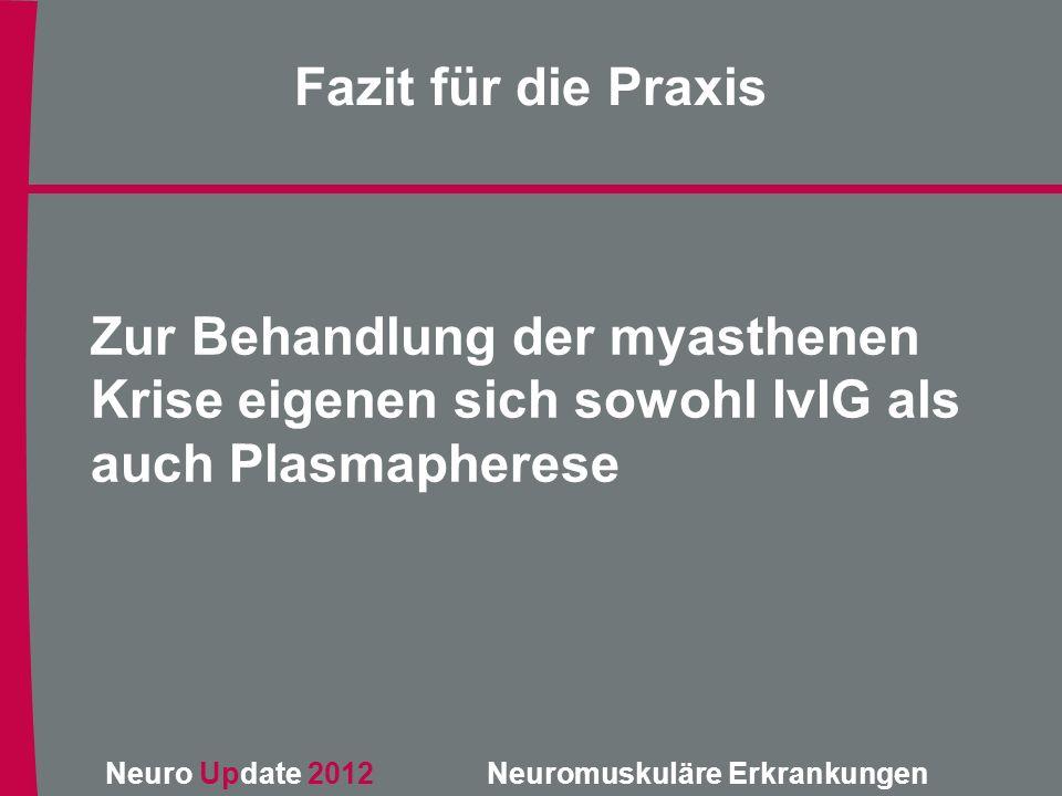 Neuro Update 2012 Neuromuskuläre Erkrankungen Zur Behandlung der myasthenen Krise eigenen sich sowohl IvIG als auch Plasmapherese Fazit für die Praxis