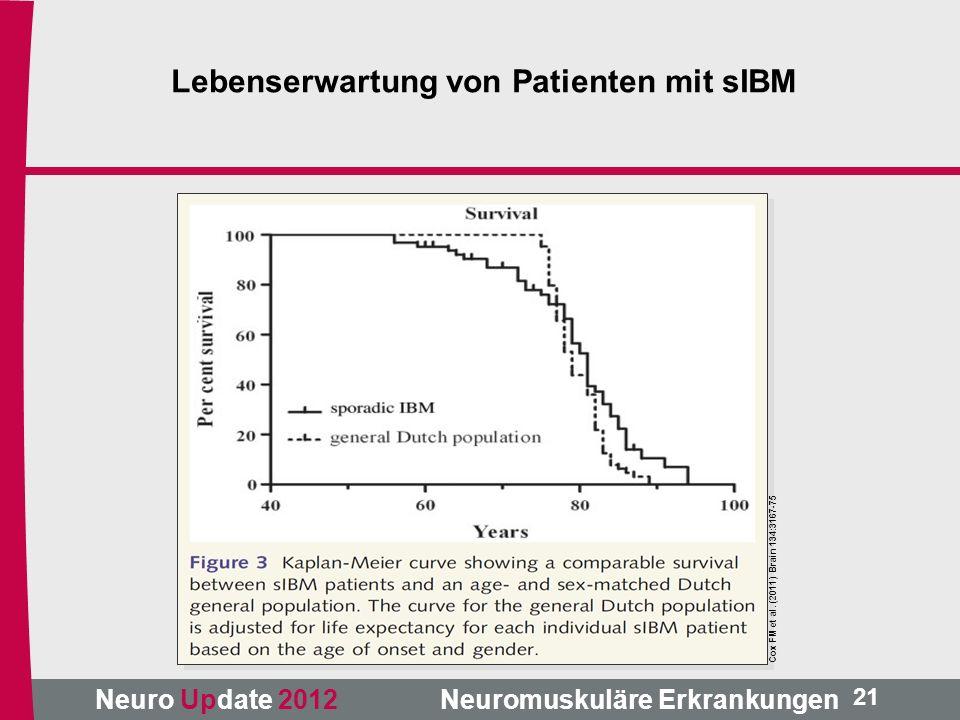 Neuro Update 2012 Neuromuskuläre Erkrankungen Cox FM et al. (2011) Brain 134:3167-75 21 Lebenserwartung von Patienten mit sIBM