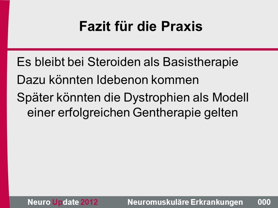 Neuro Update 2012 Neuromuskuläre Erkrankungen Fazit für die Praxis Es bleibt bei Steroiden als Basistherapie Dazu könnten Idebenon kommen Später könnt