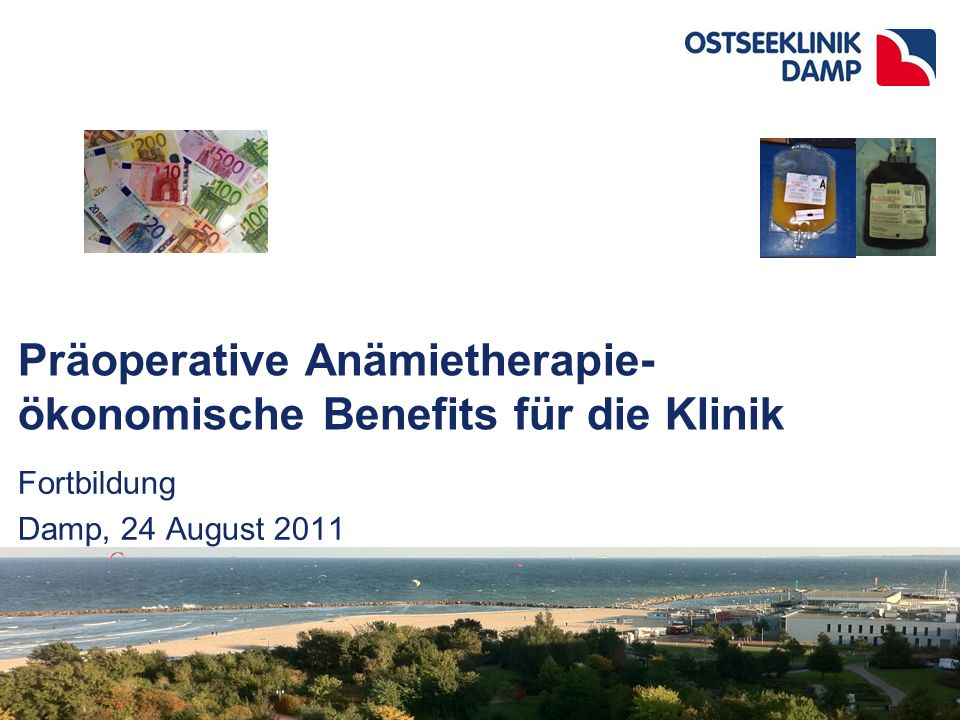 "2111-08-03 Ostseeklinik Damp präop.Anämietherapie- Anästhesie.ppt HAI Berlin 17.-19.09.09 The Toolbox: ""Patient Blood Management Implement a transfusion protocol- PATIENT BLOOD MANAGEMENT SOP –Involve surgeons, hemastesiologist, transfusion medicine Determination of the exposure risk to allogeneic transfusion –Low preoperative red cell mass –High blood loss (Procedure/Surgeon specific) –Identify and correct coagulation disorder Increase low red cell mass –Iron and EPO –PAD –ANH Decrease perioperative blood loss –Blood sparing surgical techniques –Low/restrictive transfusion triggers –POCT-based algorithm –Avoid hypothermia –CS –Antifibrinolytics, Fibrinogen and F XIII –Renew your circuit techniques (i.e."