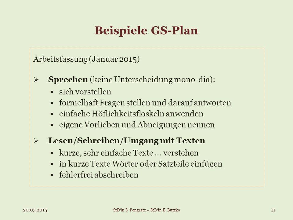 Beispiele GS-Plan Arbeitsfassung (Januar 2015)  Sprechen (keine Unterscheidung mono-dia):  sich vorstellen  formelhaft Fragen stellen und darauf antworten  einfache Höflichkeitsfloskeln anwenden  eigene Vorlieben und Abneigungen nennen  Lesen/Schreiben/Umgang mit Texten  kurze, sehr einfache Texte...