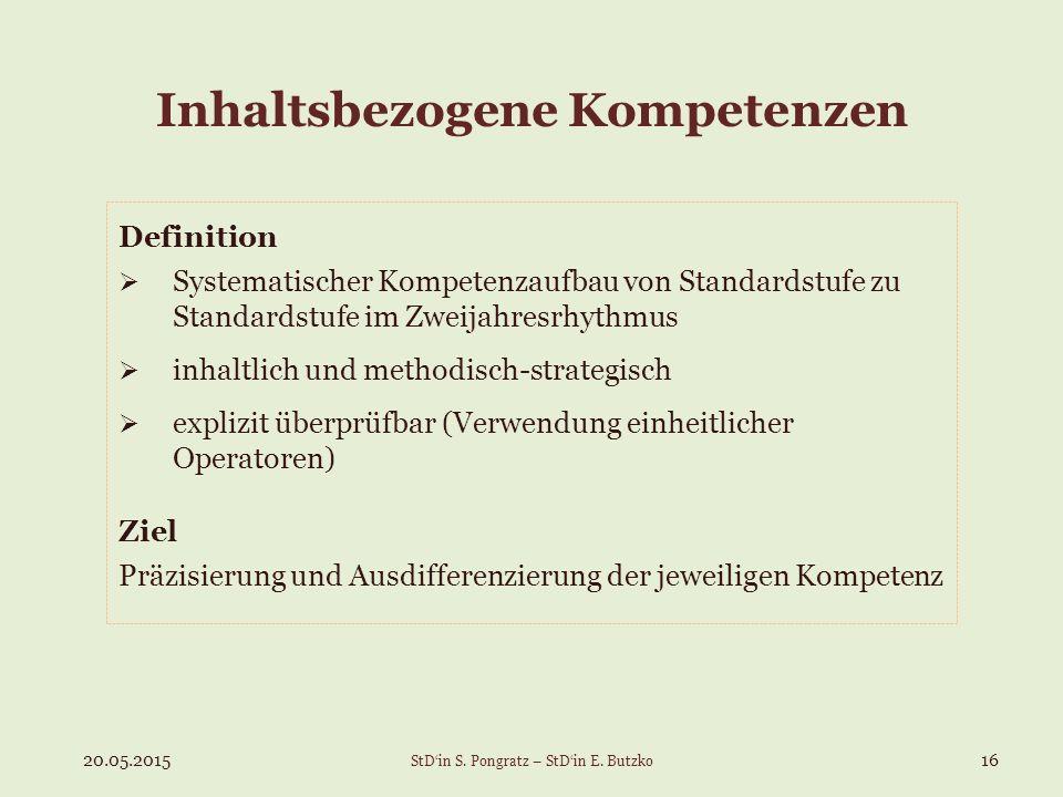 Inhaltsbezogene Kompetenzen Definition  Systematischer Kompetenzaufbau von Standardstufe zu Standardstufe im Zweijahresrhythmus  inhaltlich und meth