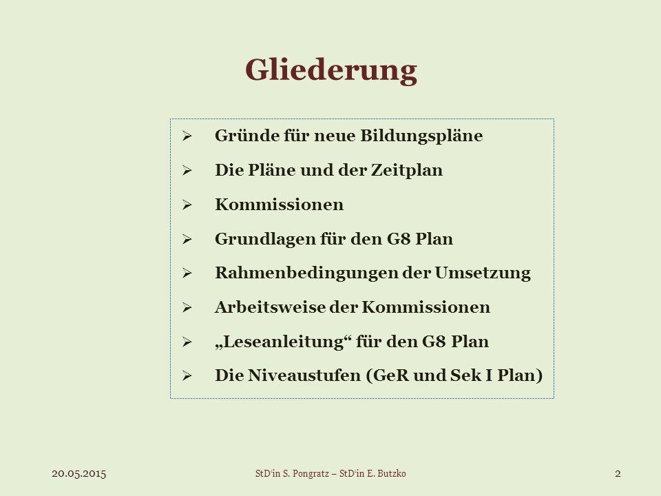  Gründe für neue Bildungspläne  Die Pläne und der Zeitplan  Kommissionen  Grundlagen für den G8 Plan  Rahmenbedingungen der Umsetzung  Arbeitswe