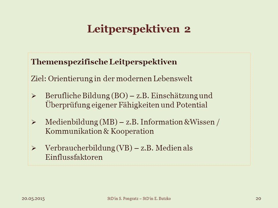 Leitperspektiven 2 Themenspezifische Leitperspektiven Ziel: Orientierung in der modernen Lebenswelt  Berufliche Bildung (BO) – z.B. Einschätzung und