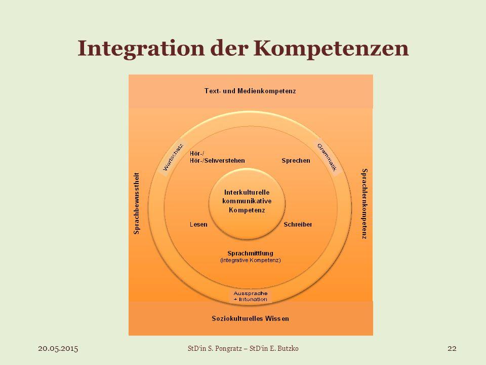 Integration der Kompetenzen 20.05.201522 StD'in S. Pongratz – StD'in E. Butzko