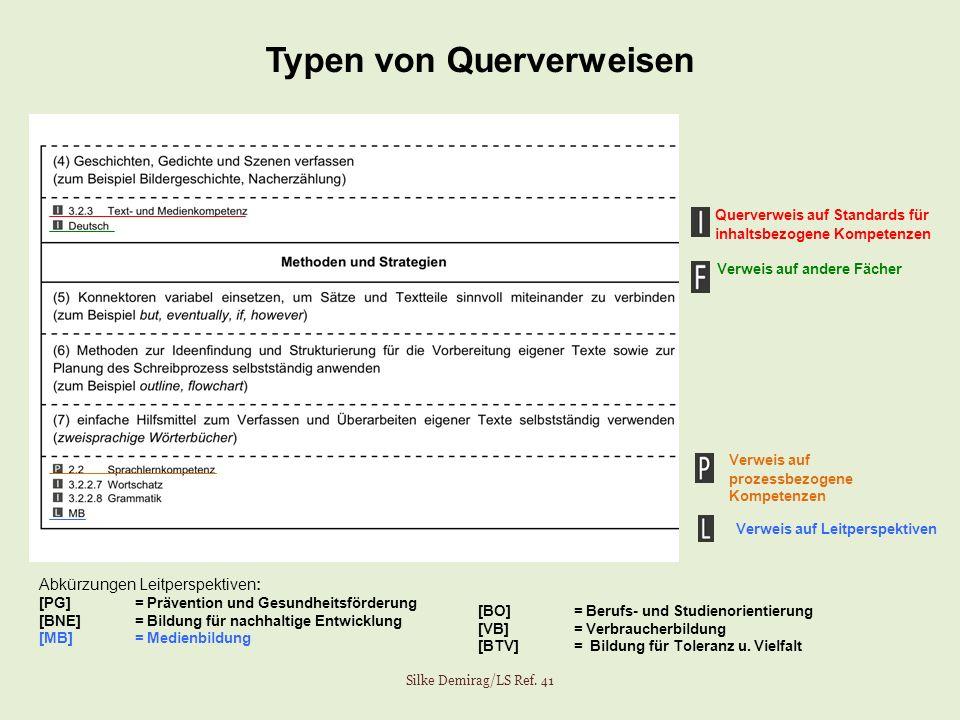 Typen von Querverweisen Silke Demirag/LS Ref. 41 Verweis auf prozessbezogene Kompetenzen Querverweis auf Standards für inhaltsbezogene Kompetenzen Ver