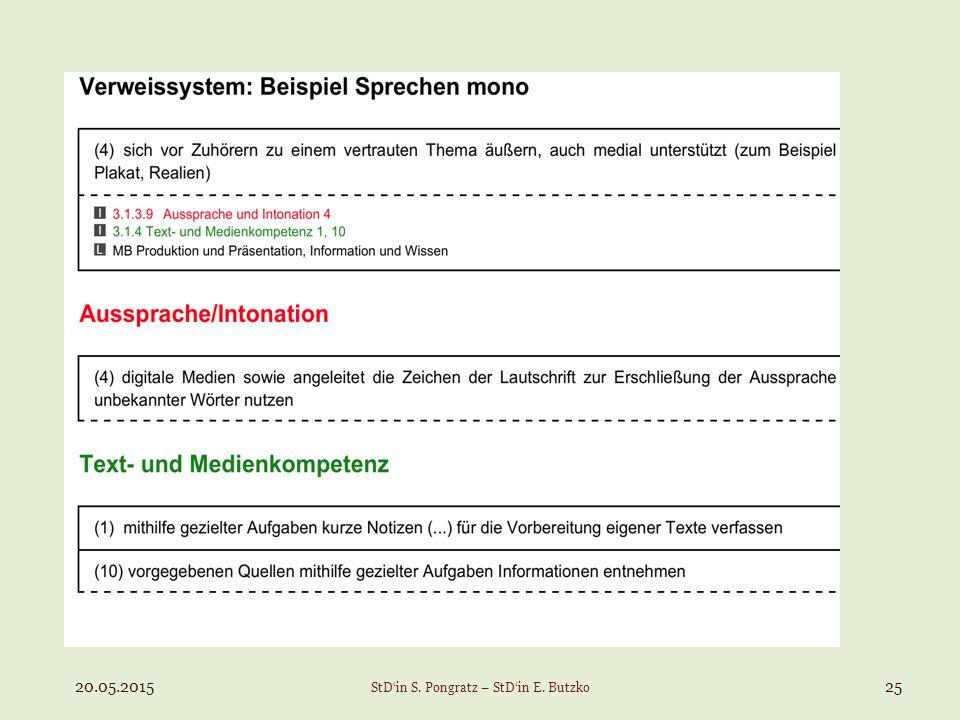 20.05.201525 StD'in S. Pongratz – StD'in E. Butzko