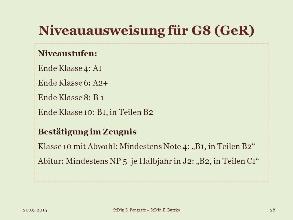 Niveauausweisung für G8 (GeR) Niveaustufen: Ende Klasse 4: A1 Ende Klasse 6: A2+ Ende Klasse 8: B 1 Ende Klasse 10: B1, in Teilen B2 Bestätigung im Ze