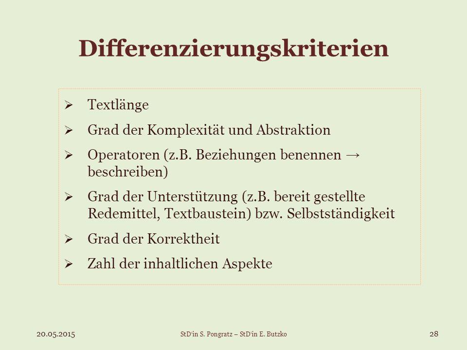 Differenzierungskriterien  Textlänge  Grad der Komplexität und Abstraktion  Operatoren (z.B. Beziehungen benennen → beschreiben)  Grad der Unterst