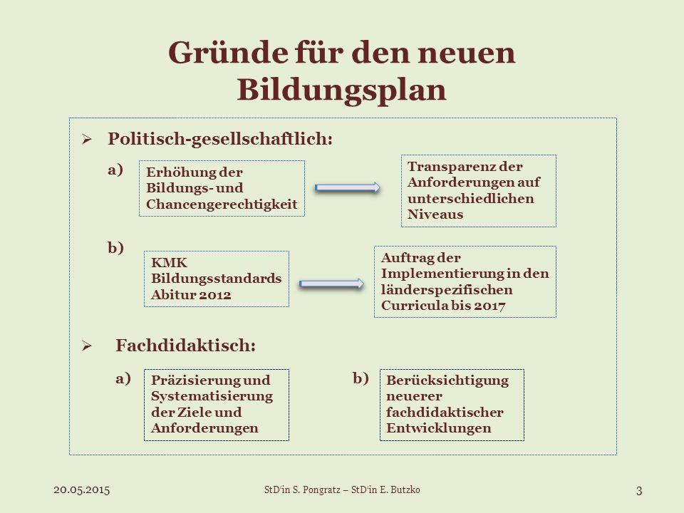 Gründe für den neuen Bildungsplan  Politisch-gesellschaftlich: a) b)  Fachdidaktisch: a) b) Erhöhung der Bildungs- und Chancengerechtigkeit Transpar