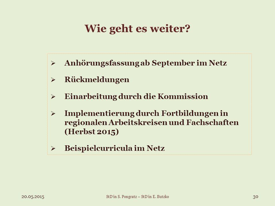 Wie geht es weiter?  Anhörungsfassung ab September im Netz  Rückmeldungen  Einarbeitung durch die Kommission  Implementierung durch Fortbildungen