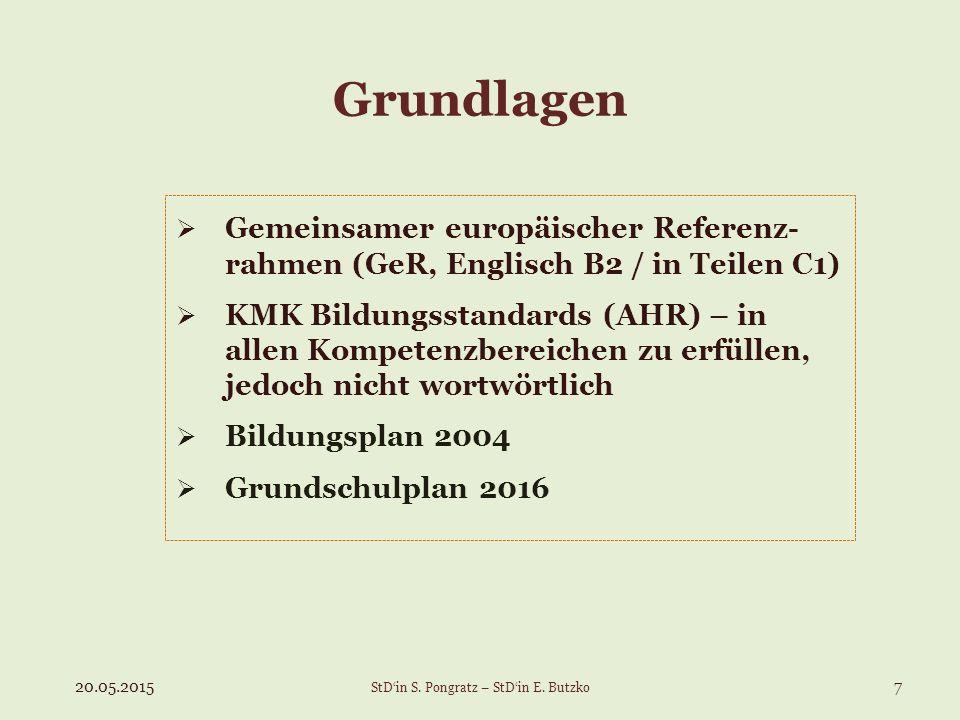 Grundlagen  Gemeinsamer europäischer Referenz- rahmen (GeR, Englisch B2 / in Teilen C1)  KMK Bildungsstandards (AHR) – in allen Kompetenzbereichen zu erfüllen, jedoch nicht wortwörtlich  Bildungsplan 2004  Grundschulplan 2016 20.05.20157 StD'in S.