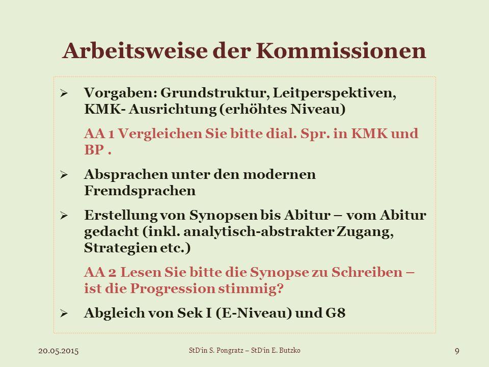 Arbeitsweise der Kommissionen  Vorgaben: Grundstruktur, Leitperspektiven, KMK- Ausrichtung (erhöhtes Niveau) AA 1 Vergleichen Sie bitte dial. Spr. in