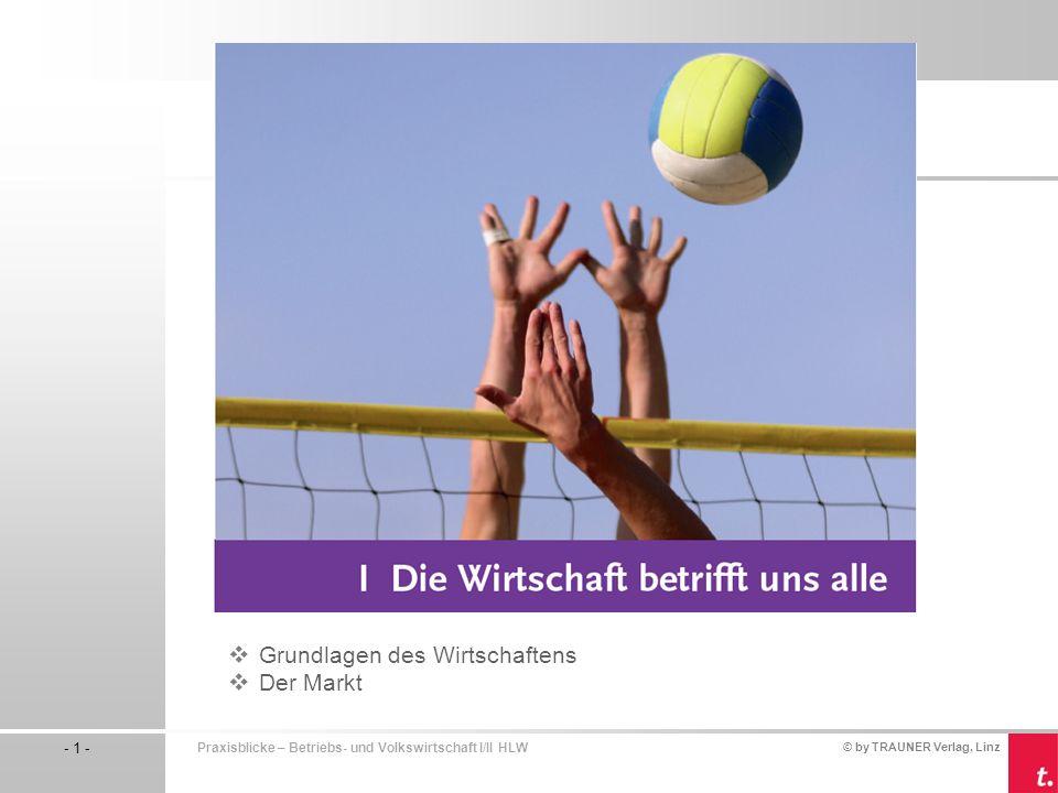 © by TRAUNER Verlag, Linz - 1 - Praxisblicke – Betriebs- und Volkswirtschaft I/II HLW  Grundlagen des Wirtschaftens  Der Markt