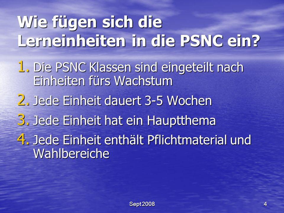 Wie fügen sich die Lerneinheiten in die PSNC ein. 1.
