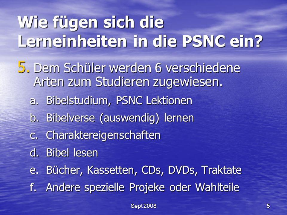 Wie fügen sich die Lerneinheiten in die PSNC ein. 5.