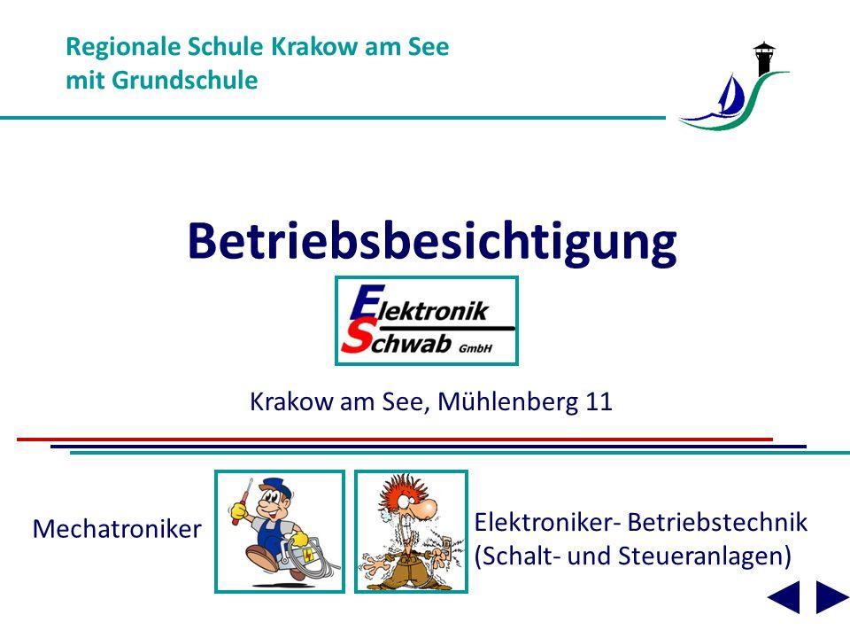 Betriebsbesichtigung Regionale Schule Krakow am See mit Grundschule Krakow am See, Mühlenberg 11 Elektroniker- Betriebstechnik (Schalt- und Steueranlagen) Mechatroniker