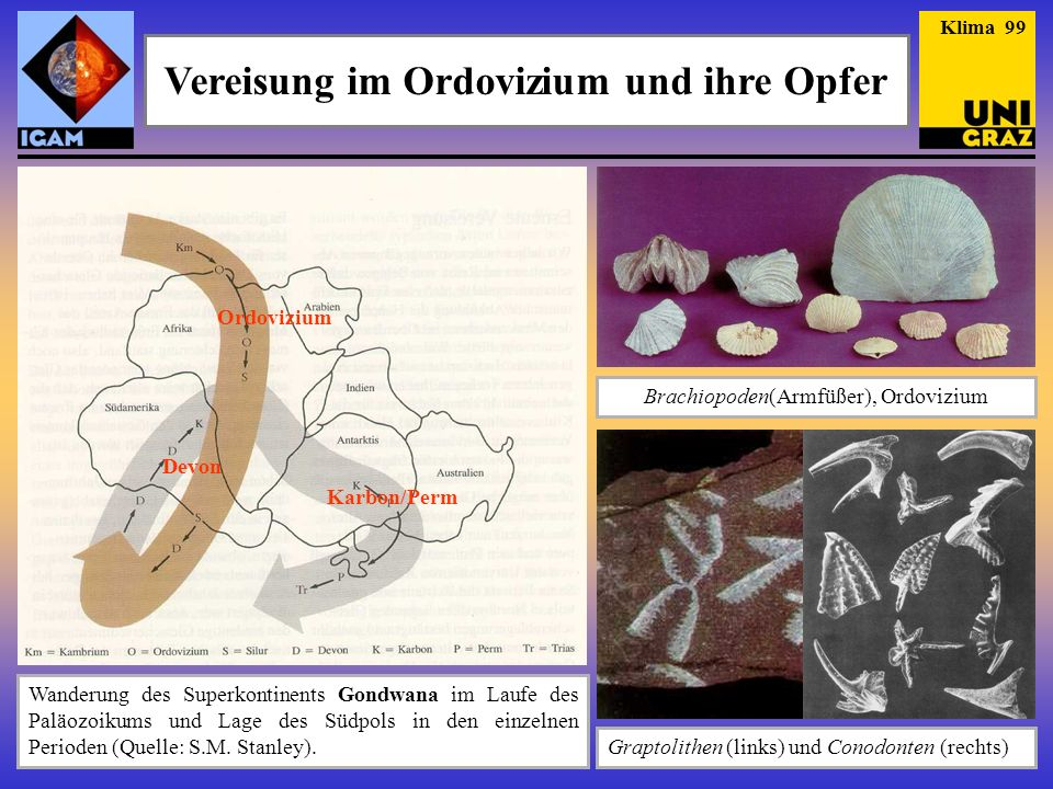 Vereisung im Ordovizium und ihre Opfer Wanderung des Superkontinents Gondwana im Laufe des Paläozoikums und Lage des Südpols in den einzelnen Perioden