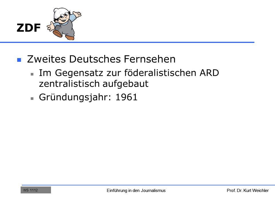 Prof. Dr. Kurt WeichlerEinführung in den Journalismus WS 09/10 ZDF Zweites Deutsches Fernsehen Im Gegensatz zur föderalistischen ARD zentralistisch au