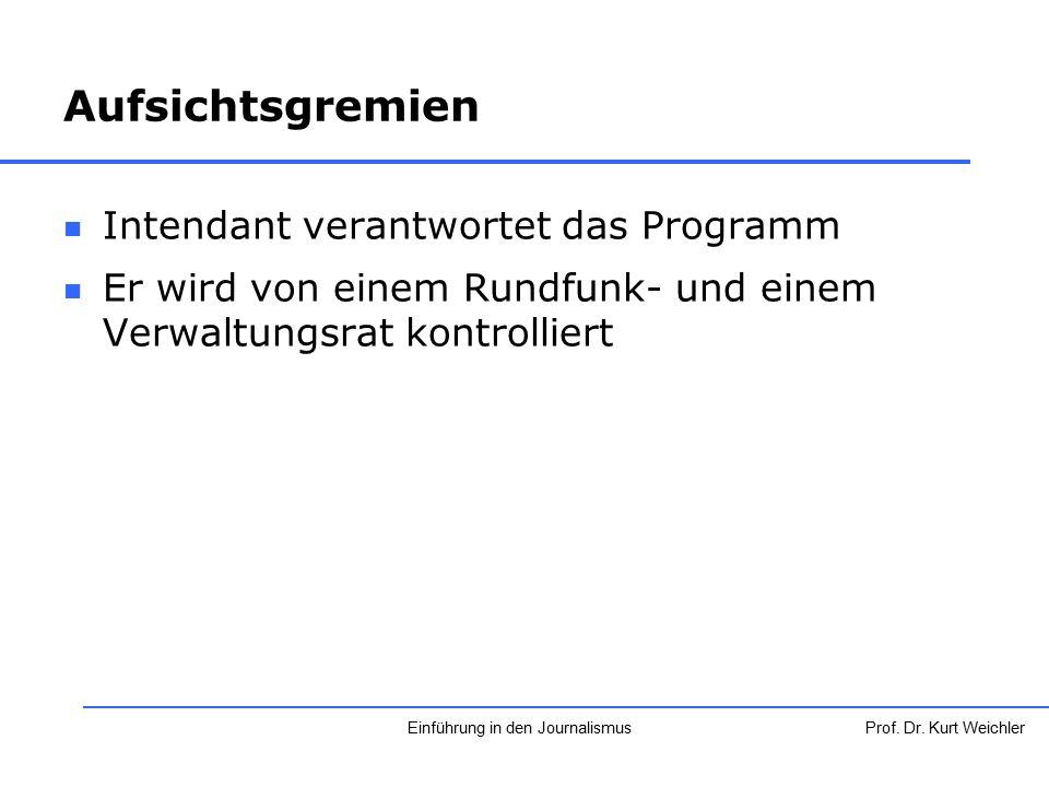 Aufsichtsgremien Intendant verantwortet das Programm Er wird von einem Rundfunk- und einem Verwaltungsrat kontrolliert Prof. Dr. Kurt WeichlerEinführu