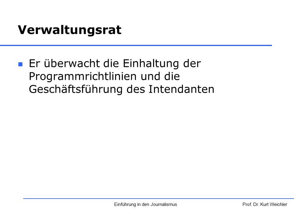 Verwaltungsrat Er überwacht die Einhaltung der Programmrichtlinien und die Geschäftsführung des Intendanten Prof. Dr. Kurt WeichlerEinführung in den J