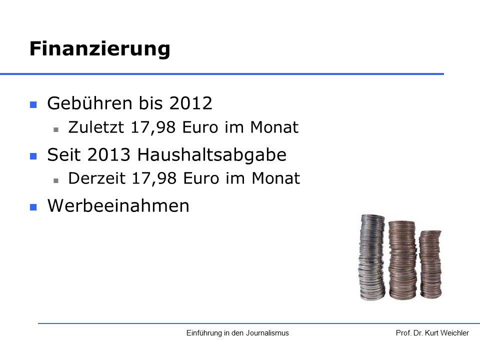 Finanzierung Gebühren bis 2012 Zuletzt 17,98 Euro im Monat Seit 2013 Haushaltsabgabe Derzeit 17,98 Euro im Monat Werbeeinahmen Prof. Dr. Kurt Weichler