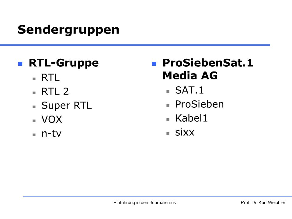 Sendergruppen RTL-Gruppe RTL RTL 2 Super RTL VOX n-tv ProSiebenSat.1 Media AG SAT.1 ProSieben Kabel1 sixx Prof. Dr. Kurt WeichlerEinführung in den Jou