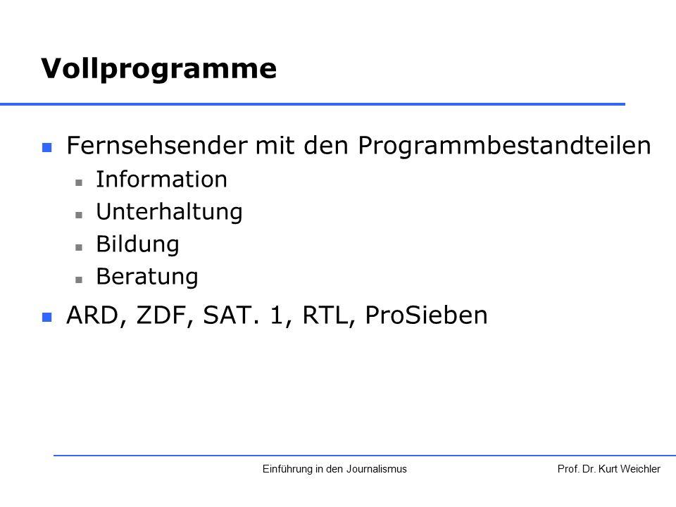 Fernsehsender mit den Programmbestandteilen Information Unterhaltung Bildung Beratung ARD, ZDF, SAT. 1, RTL, ProSieben Prof. Dr. Kurt WeichlerEinführu