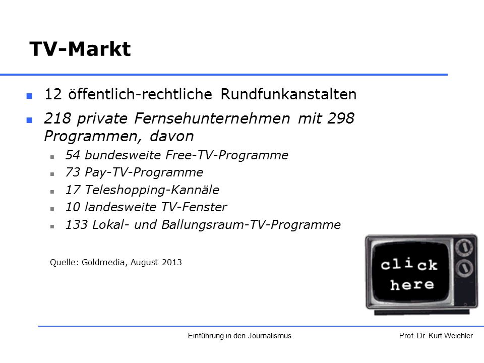 TV-Markt 12 öffentlich-rechtliche Rundfunkanstalten 218 private Fernsehunternehmen mit 298 Programmen, davon 54 bundesweite Free-TV-Programme 73 Pay-T
