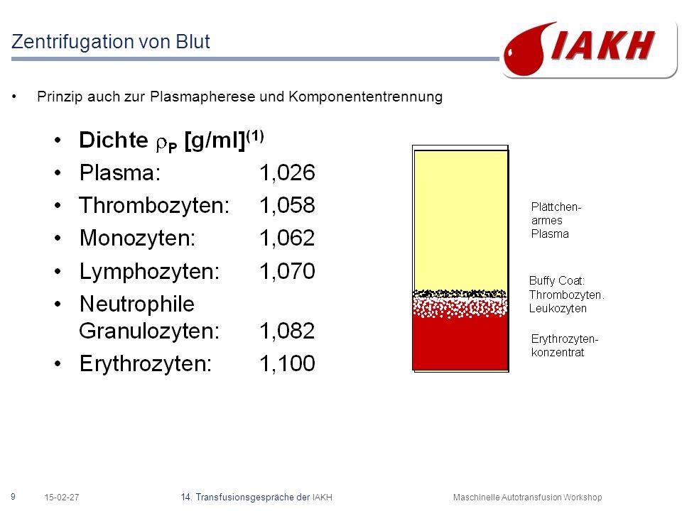 9 15-02-27 14. Transfusionsgespräche der IAKHMaschinelle Autotransfusion Workshop Zentrifugation von Blut Prinzip auch zur Plasmapherese und Komponent