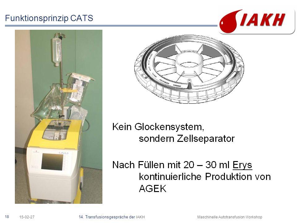 18 15-02-27 14. Transfusionsgespräche der IAKHMaschinelle Autotransfusion Workshop Funktionsprinzip CATS