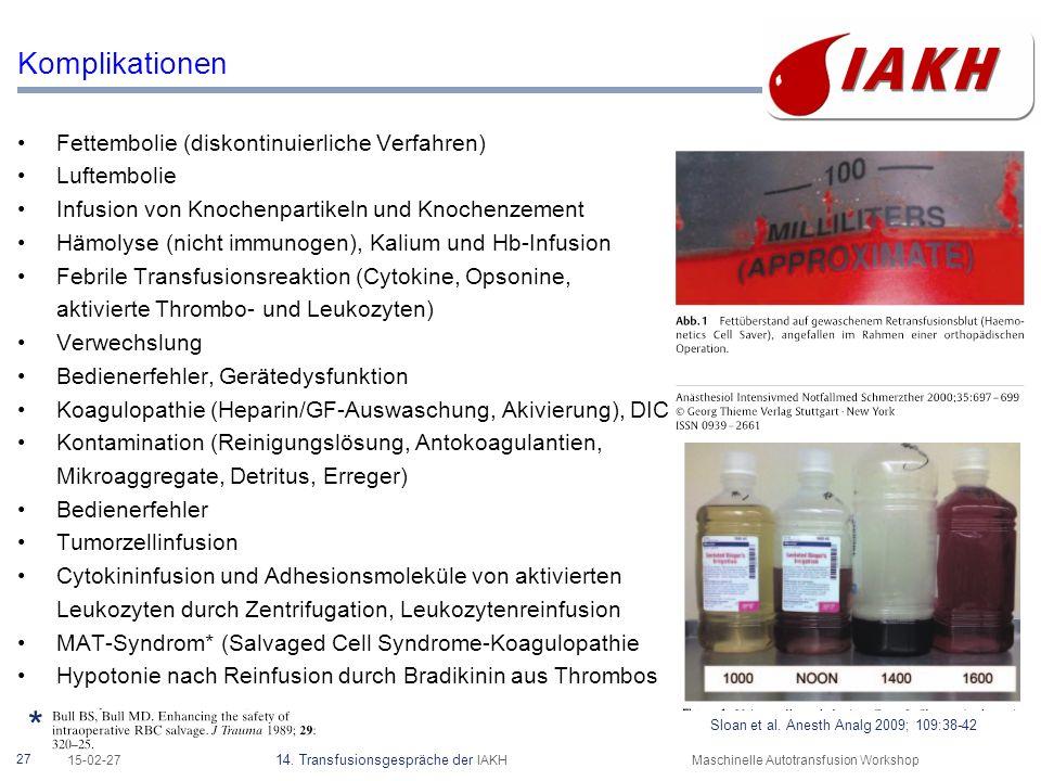 27 15-02-27 14. Transfusionsgespräche der IAKHMaschinelle Autotransfusion Workshop Komplikationen Fettembolie (diskontinuierliche Verfahren) Luftembol
