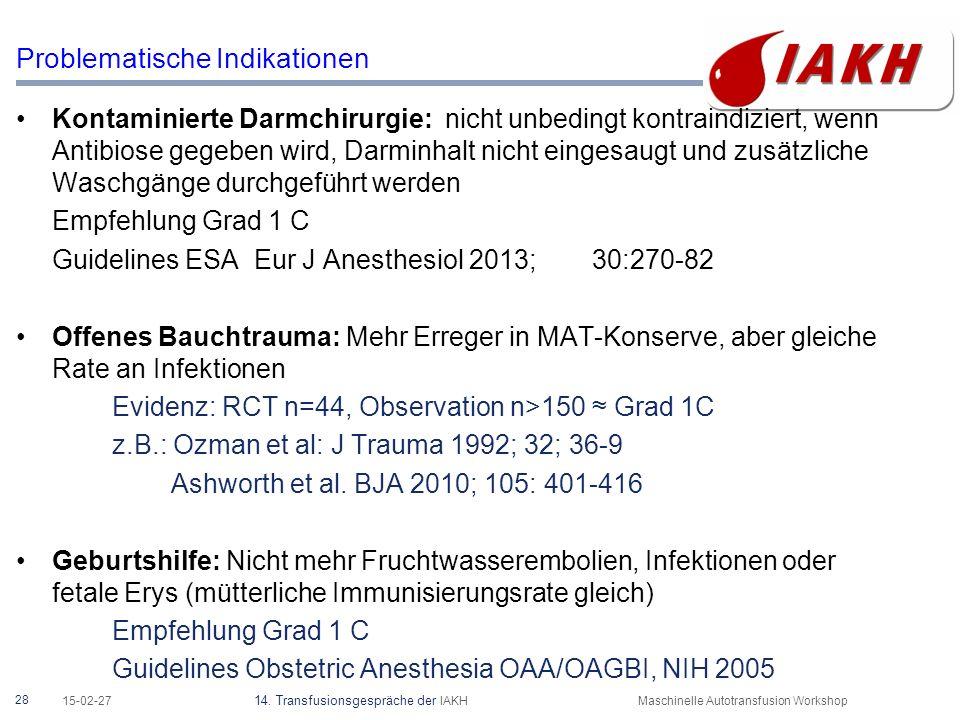 28 15-02-27 14. Transfusionsgespräche der IAKHMaschinelle Autotransfusion Workshop Problematische Indikationen Kontaminierte Darmchirurgie: nicht unbe