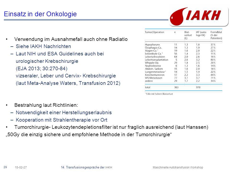 29 15-02-27 14. Transfusionsgespräche der IAKHMaschinelle Autotransfusion Workshop Einsatz in der Onkologie Verwendung im Ausnahmefall auch ohne Radia