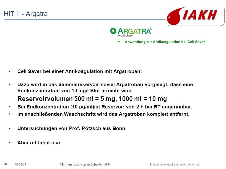 36 15-02-27 14. Transfusionsgespräche der IAKHMaschinelle Autotransfusion Workshop HIT II - Argatra Cell Saver bei einer Antikoagulation mit Argatroba