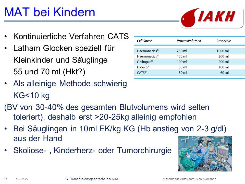37 15-02-27 14. Transfusionsgespräche der IAKHMaschinelle Autotransfusion Workshop MAT bei Kindern Kontinuierliche Verfahren CATS Latham Glocken spezi