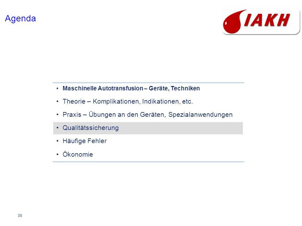 38 Agenda Maschinelle Autotransfusion – Geräte, Techniken Theorie – Komplikationen, Indikationen, etc. Praxis – Übungen an den Geräten, Spezialanwendu