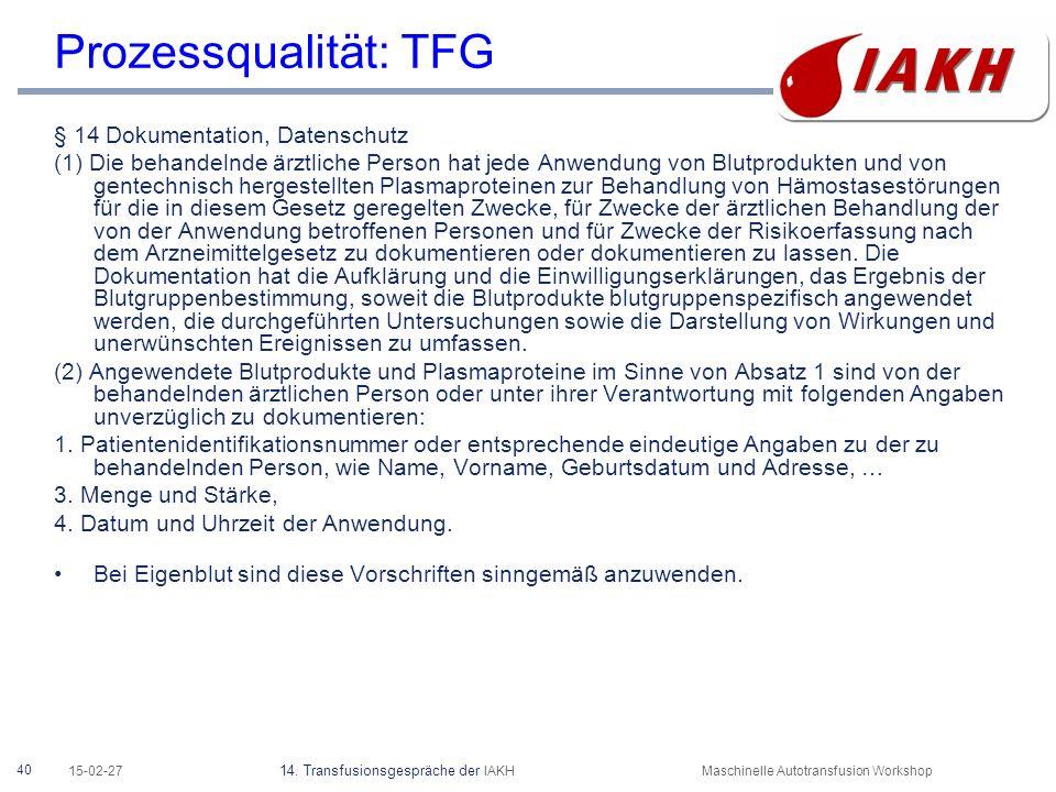 40 15-02-27 14. Transfusionsgespräche der IAKHMaschinelle Autotransfusion Workshop Prozessqualität: TFG § 14 Dokumentation, Datenschutz (1) Die behand