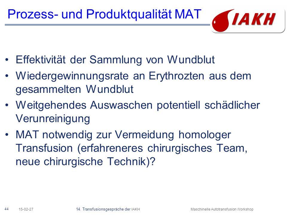 44 15-02-27 14. Transfusionsgespräche der IAKHMaschinelle Autotransfusion Workshop Prozess- und Produktqualität MAT Effektivität der Sammlung von Wund